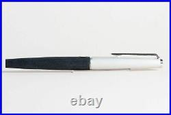 1971 MONTBLANC 225 matt Black & Silver EF 585 white gold nib PISTON FILLER NOS