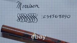 Black & Red Mottled Hr Os Flat Top Fountain Pen, Gt, Morrison 14k Nib, Restored