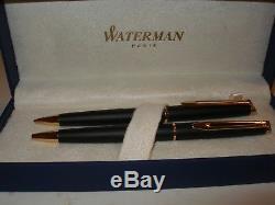 Brand New Waterman Hemisphere Matt Black Gold Trim Ballpoint Pen & Pencil Set
