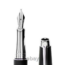Caran D'Ache Silver-Plated Lèman Black Matt Fountain Pen (M)