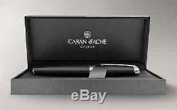 Caran d'Ache Leman Silver Plated & Rhodium Black Matte Lacquer Rollerball Pen