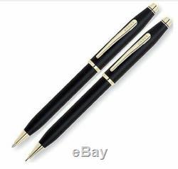 Cross Century II Matte Black & Gold Ballpoint Pen & Pencil New In Bx 250105Wg