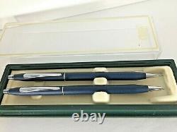 Cross Classic Century Matte / Satin Blue Pen &. 5 Pencil Chrome Trim-made In USA