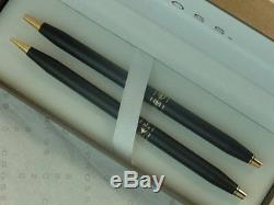 Cross Ladies Matte Black Ballpoint Pen & 0.9 Pencil Set & Pouch New In Box Usa
