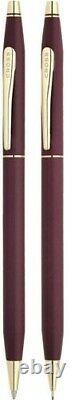 Cross Set Matte Burgundy & Gold Ballpoint & 0.5 Pencil New In Box 220105 Usa