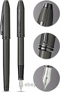 Cross Townsend Fountain Pen Matte Black Ct Fine Pt New In Box at0042-60F