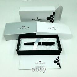 Diplomat Excellence A2 Lapis Black Matt Chrome Fountain Pen Broad Nib Germany