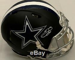 Emmitt Smith Signed Dallas Cowboy Authentic Matte Black Helmet White Pen Bas Coa