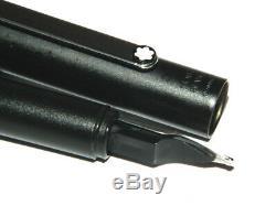 Excellent Montblanc Slim Line Fountain Pen Brushed Steel Matt Black #b Large