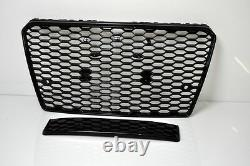 For A7 4G C7 Full Honeycomb Grill Grille Bumper Grill Black High Gloss 114