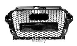 For Audi A3 S3 8V RS3 Look Front Grille Full Gloss Black To 2012-2015