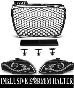 For Audi A4 B7 04-08 RS4 Look Honeycomb Grill+LED Headlights Bumper Diffuser