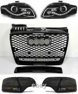 For Audi A4 B7 04-08 RS4 Look Honeycomb Grill + LED Headlights+Rear Lights Grill