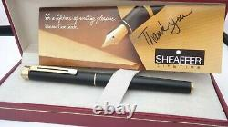 Gorgeous Sheaffer Targa, Matte Black Gt, In Box, Semi Flex, 14k Medium Nib, USA