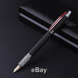 HERO 14K Gold Fountain Pen Fine Nib with Gift Box, Matte Black Metal Gift Pen