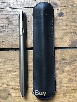 LAMY Dialog 1 matt titanium ballpoint pen black leather Lamy case Richard Sapper