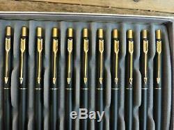 LOT of 12 1990s Vintage Matte Black Gold Trim GT PARKER CLASSIC ballpoint pens