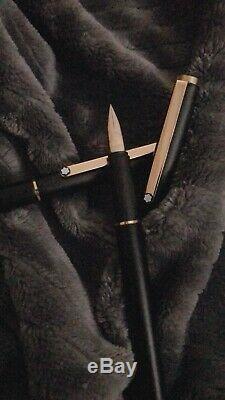 Montblanc SlimLine Fountain Pen Matte Black Gold Extra Fine Nib