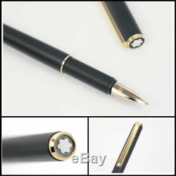 Montblanc Slim line Fountain pen Matte black & Gold Vintage Used