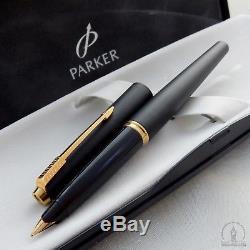 NOS Extremely Rare Parker 45 TX Matte BLACK GT Fountain Pen M Nib UK Q3 1994