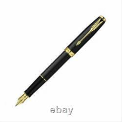 New Parker Sonnet Matte Black&gold Fountain Pen 18k Gold Coated M Nib+converter