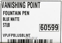 New Pilot Namiki Matte Blue Vanishing Point 18k Stub Nib Fountain Pen Free Ink