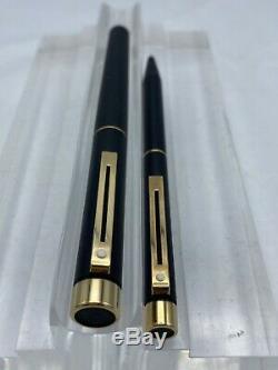 Nos! Sheaffer Targa Matte Black Fountain & Ballpoint Pens With 14k Gold Nib