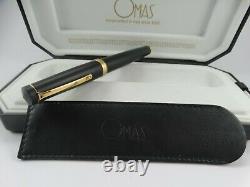 OMAS Bologna Matt Black Large Barrel Fountain Pen In Box MINT CONDITION Italy