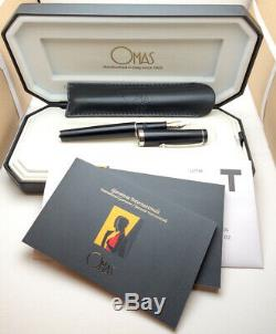 OMAS Bologna Matt Black Nib 14K-585 M Fountain Pen With Box