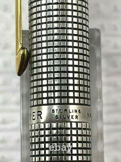 PARKER 75 Sterling Silver Cisele Flat Tassie Fountain Pen 14K Fine Nib