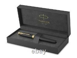 PARKER Sonnet Fountain Pen, Matte Black Lacquer & Gold Trim, Fine Nib, Boxed