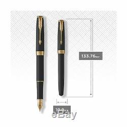 PARKER Sonnet Fountain Pen, Matte Black Lacquer with Gold Trim, Fine Nib 193