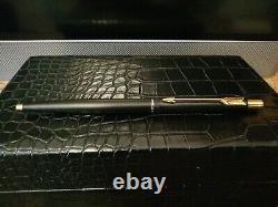 Parker 180 Gt Matte Black Fountain And Ballpoint Pen Set. Original Case. New