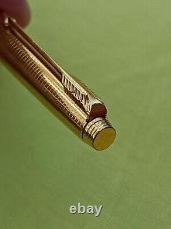 Parker 75 14K GF insignia grid ballpoint pen & fountain pen set flat tassie