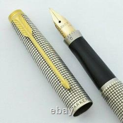 Parker 75 Sterling Silver Fountain Pen 14K Gold Fine Pt Flat Top In Box Mint