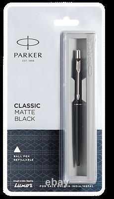 Parker Classic Matte Black Ballpoint Ball Pen CT Matt Chrome Blue Line Gift Box