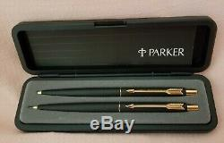Parker Classic Matte Black &gold Trim Ballpoint Pen &. 5mm Pencil / Made In USA