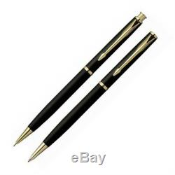 Parker Insignia Matte Black & Gold Ballpoint Pen & 0.5mm Pencil Set New In Box