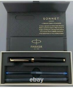 Parker Sonnet Fauntain Pen Matte Black Gold Trim. 1931517