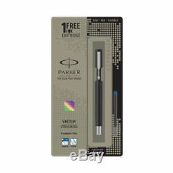 Parker Vector Matte Black CT Chrome Trim Fountain Ink Pen, Fine Nib Blue Ink