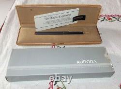 Penna a sfera AURORA HASTIL Vintage in BOX Mai usata black matte pen VERMEIL oro
