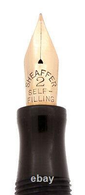 Rare C1920 Sheaffer Flat-top Autograph Black Hard Rubber Fountain Pen Restored