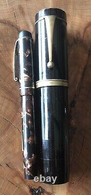 Rare Huge Unique Ebonite 1950's Flat Top Eyedropper Japanese Jumbo Fountain Pen