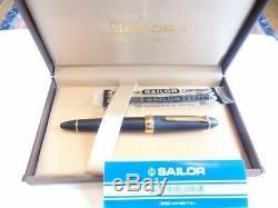 Rare Sailor Profit 21 Matte Black striped fountain pen Nib 21k M/s set box&ink
