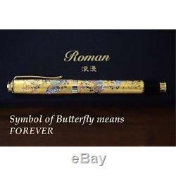 Roman Premium Vintage Fountain Pen Matte Black Ink Luxuary Antique Gold Trim Med