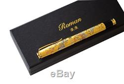 Roman Premium Vintage Fountain Pen Matte Black Ink Luxuary Antique Gold Trim Nib
