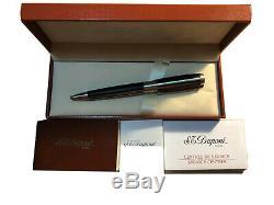 S. T. Dupont D Line Ballpoint Pen, Matte Black Lacquer & Silver Palladium Accents