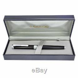 Sailor Barcarolle Fountain Pen Black Matte Silver Trim 14K Gold Fine Point