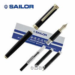 Sailor Barcarolle Matte Black Fountain Pen Gold Trim 14K Gold Fine Point Nib NEW