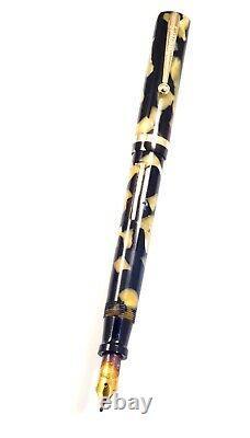 Sheaffer Flat Top Black & Pearl Fountain Pen, Lifetime Broad Stub Nib, Rainbow